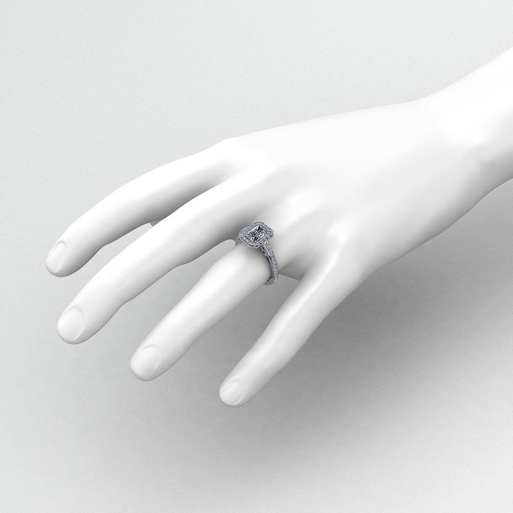 Emerald Cut Diamond Halo Ring