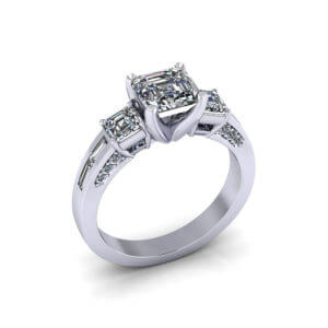 3 Stone Asscher Engagement Ring