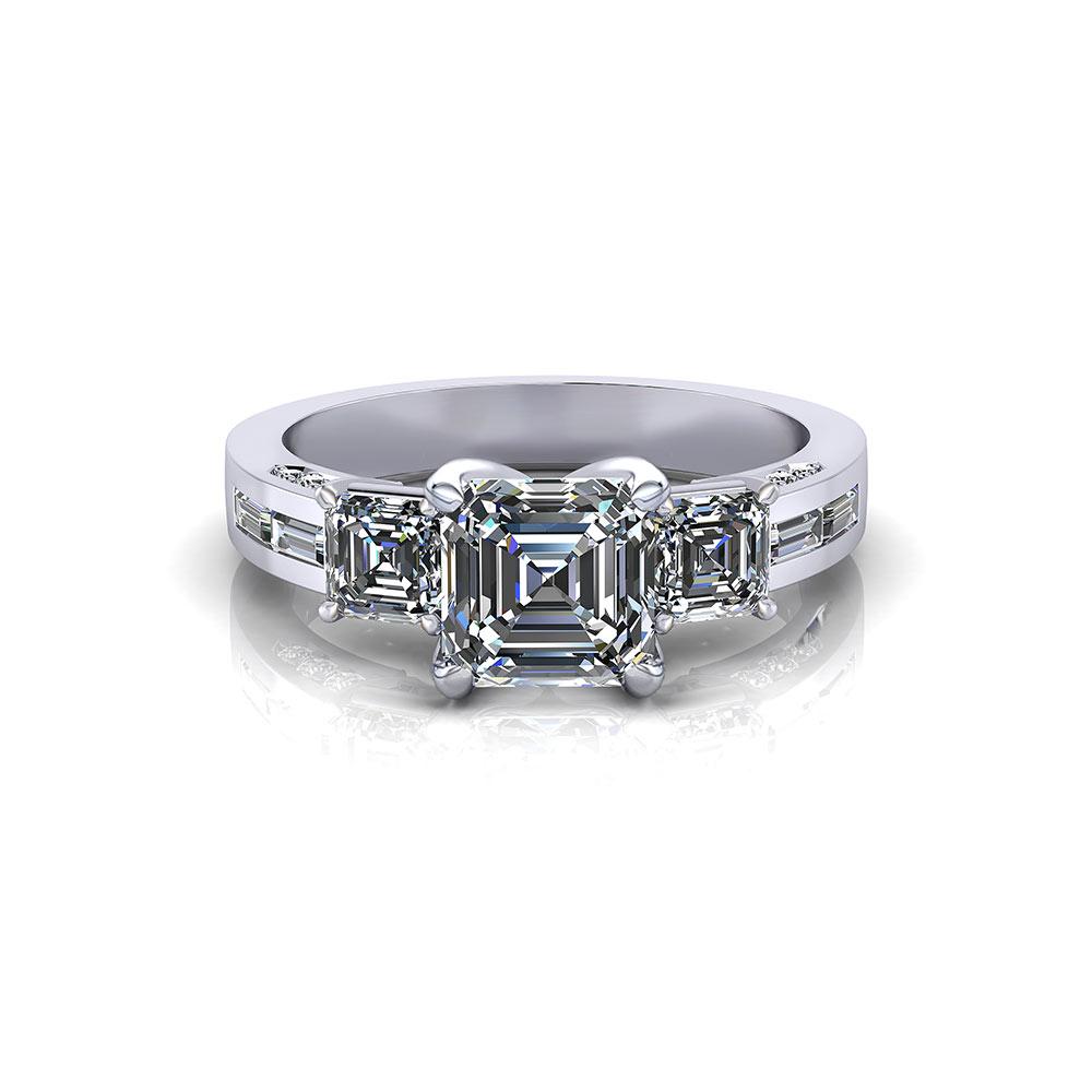 3 Stone Asscher Engagement Ring