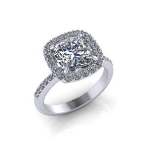 Large Cushion Halo Engagement Ring
