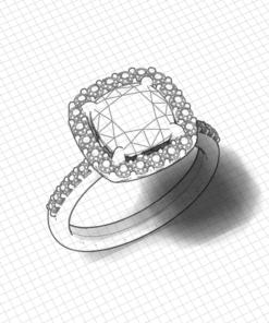 Large Cushion Halo Engagement Ring