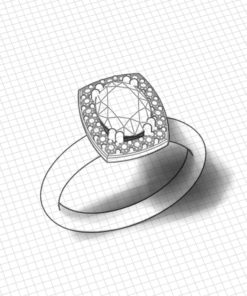 Square Halo Oval Engagement Ring
