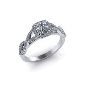 Half Carat Halo Engagement Ring
