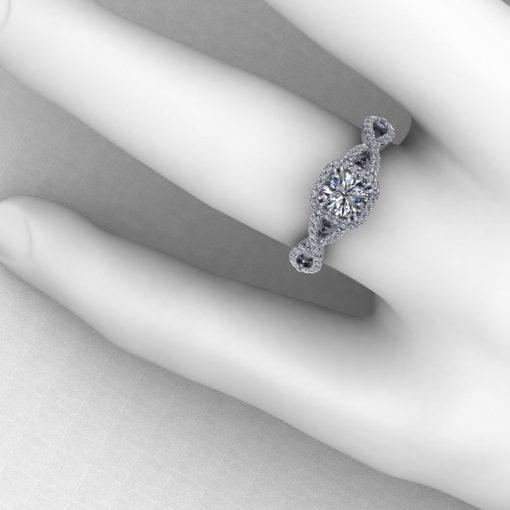 Half Carat Halo Engagement Ring
