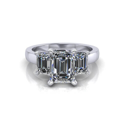3 Stone Emerald Cut Diamond Ring
