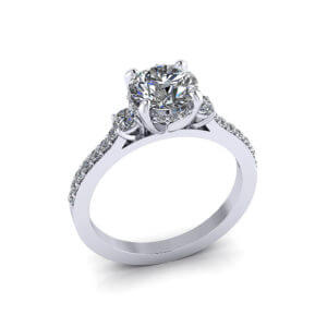 Bridged Engagement Diamond Ring