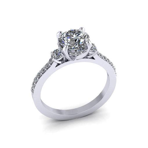 Bridged Engagement Diamond Ring