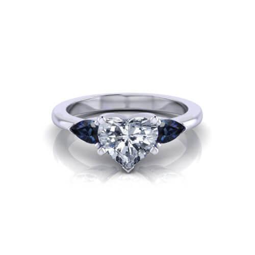 Diamond Sapphire Heart Engagement Ring