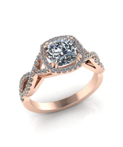Rose Gold Cushion Halo Engagement Ring