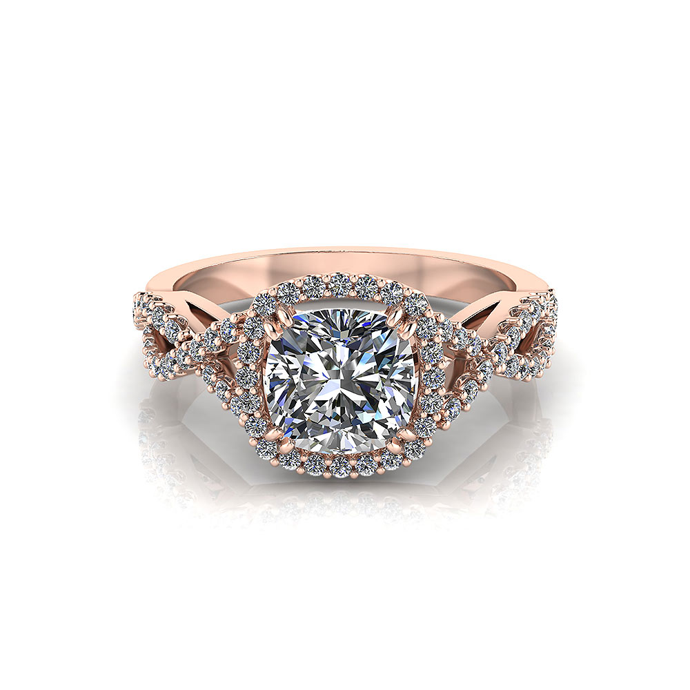 Rose Gold Cushion Halo Engagement Ring Jewelry Designs