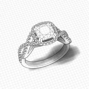 Rose Gold Cushion Halo Engagement Ring