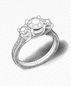 3 Stone Diamond Trellis Ring