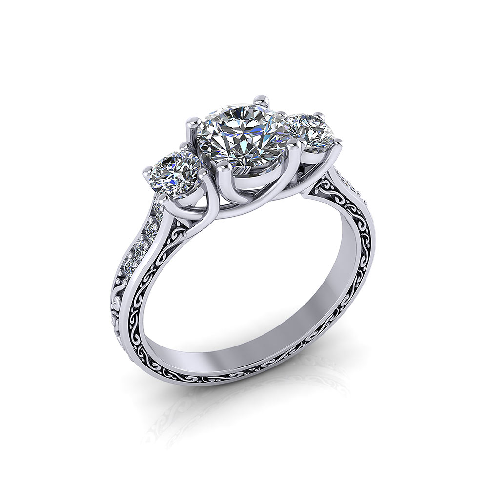 3 Stone Diamond Trellis Ring Jewelry Designs