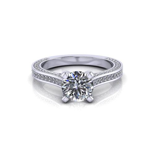 Line Set Engagement Ring