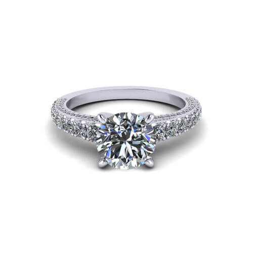 Line Set Diamond Engagement Ring