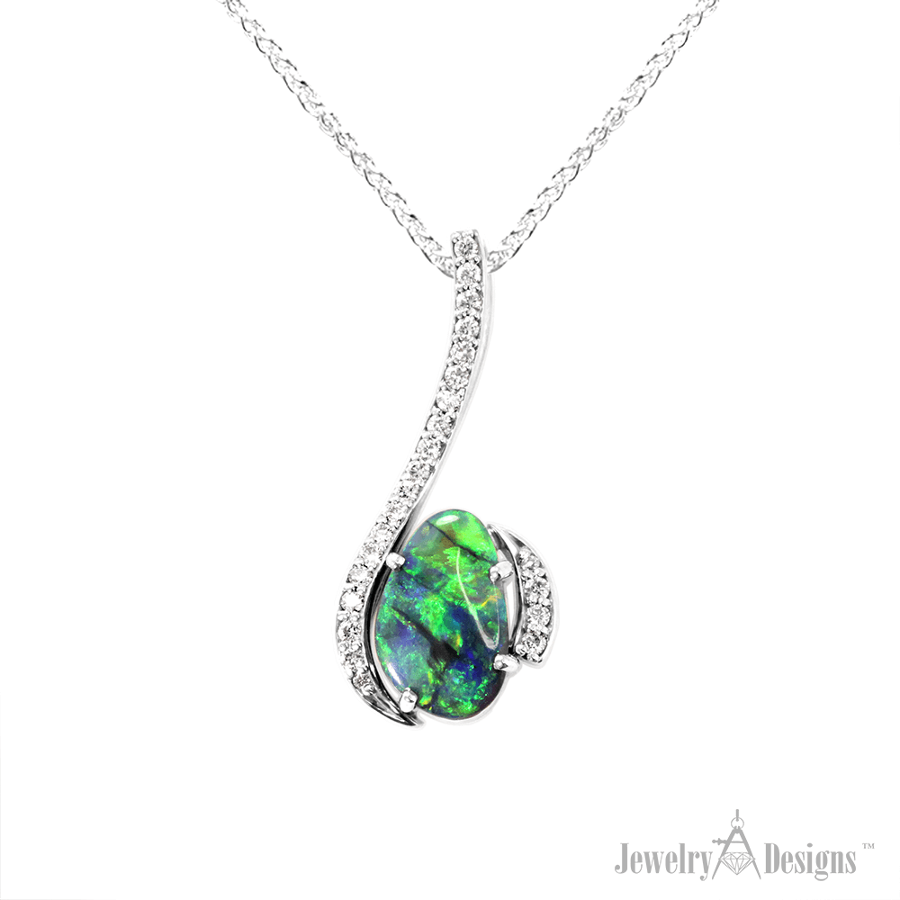 NC160-1 Handmade Black Opal Necklace
