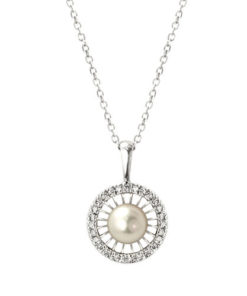 NC562-2 Cultured Pearl Halo Necklace