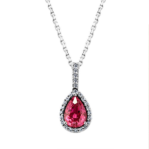 NC624-2 Pear Shape Pink Sapphire Necklace