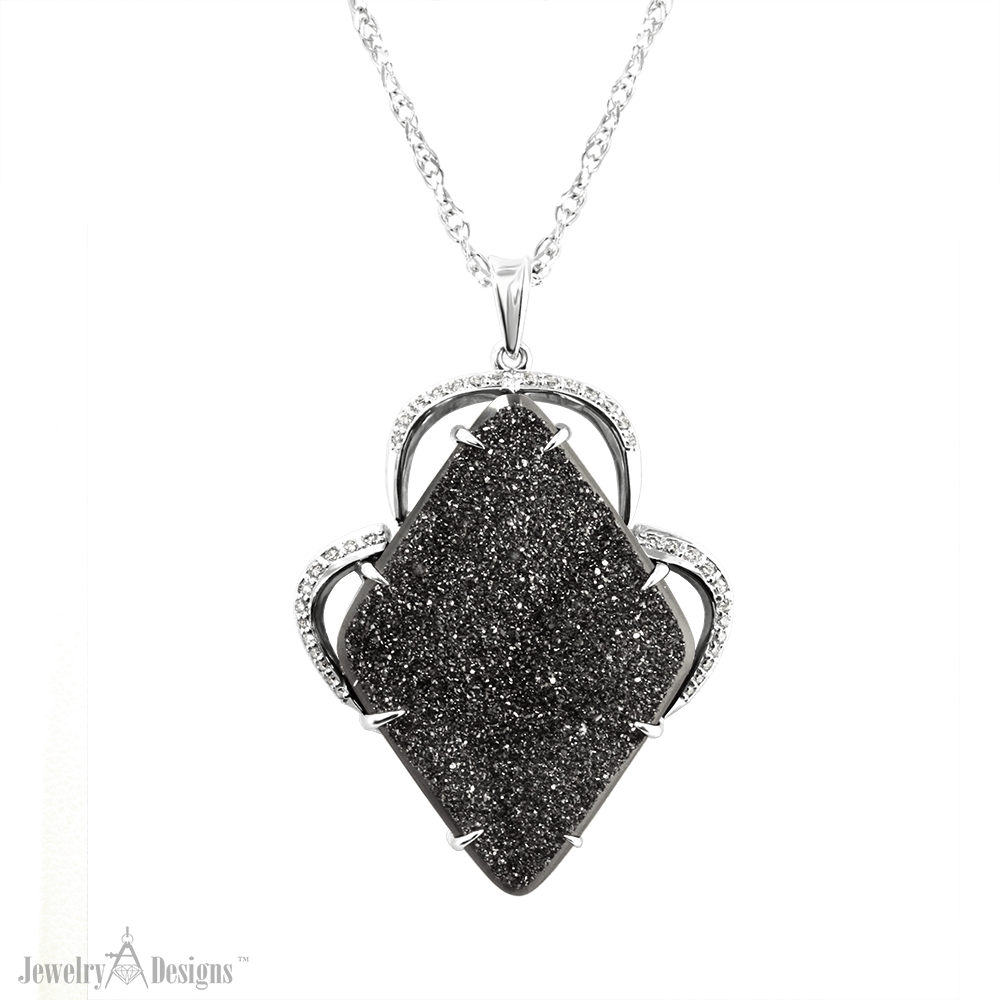 NC706-1 Black Druzy Diamond Pendant