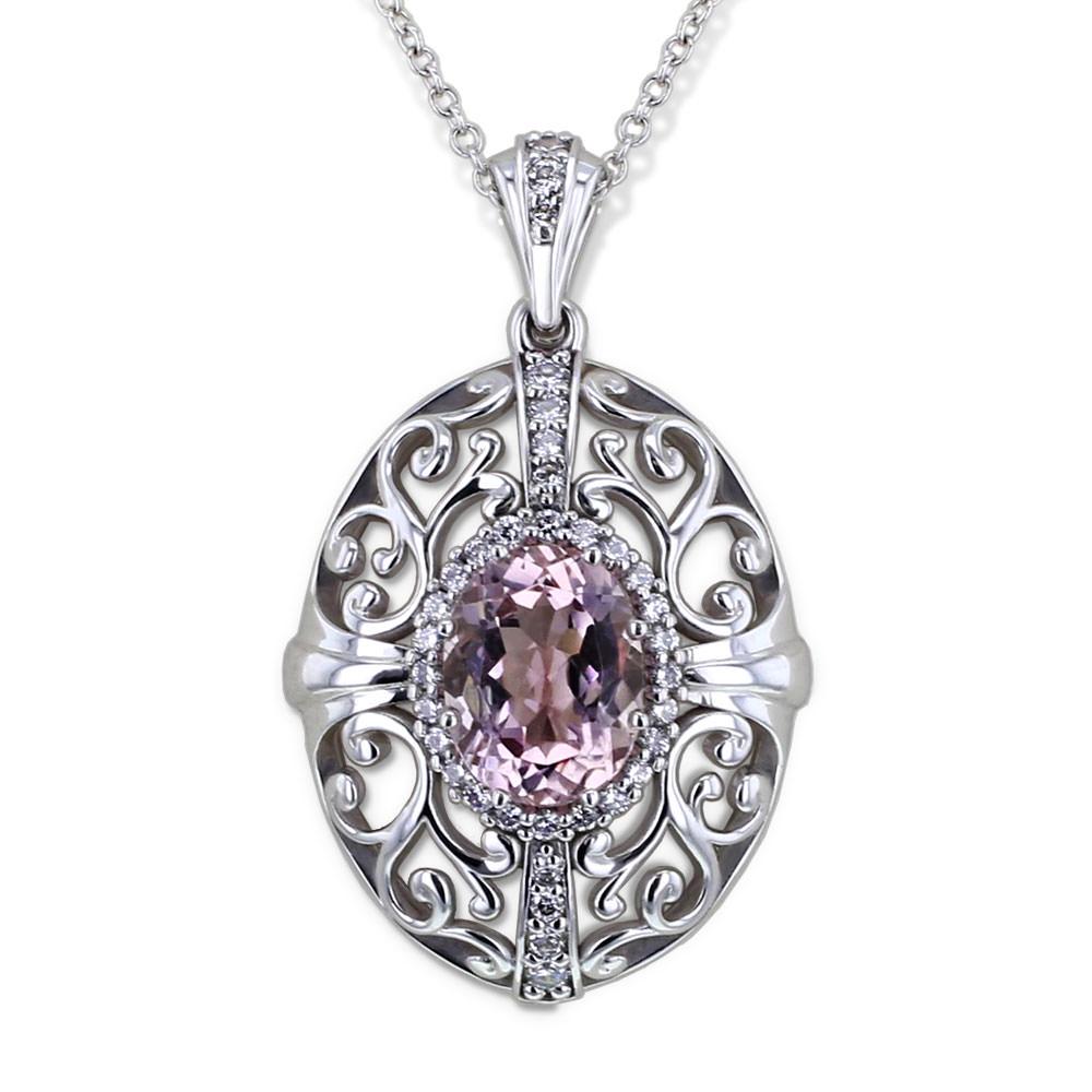 Vintage Morganite Necklace-close