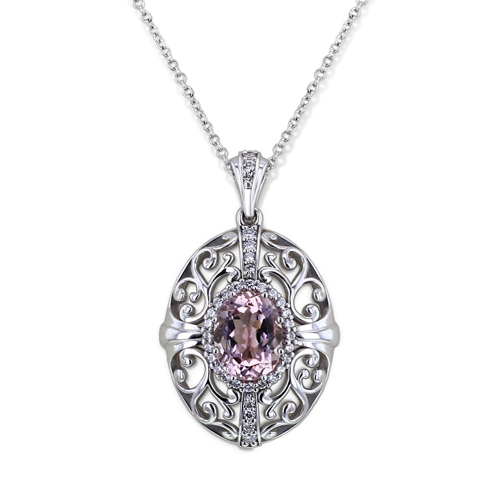 m necklaces shane p co diamond pearl necklace pendant morganite and in