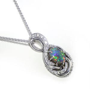 Swirling Black Opal Necklace
