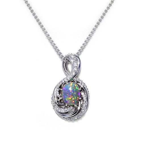 Swirling Black Opal Necklace