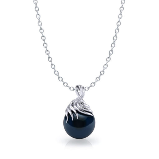 Artistic Tahitian Black Pearl Necklace