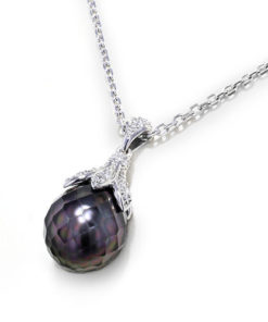 Faceted Black Pearl Necklace