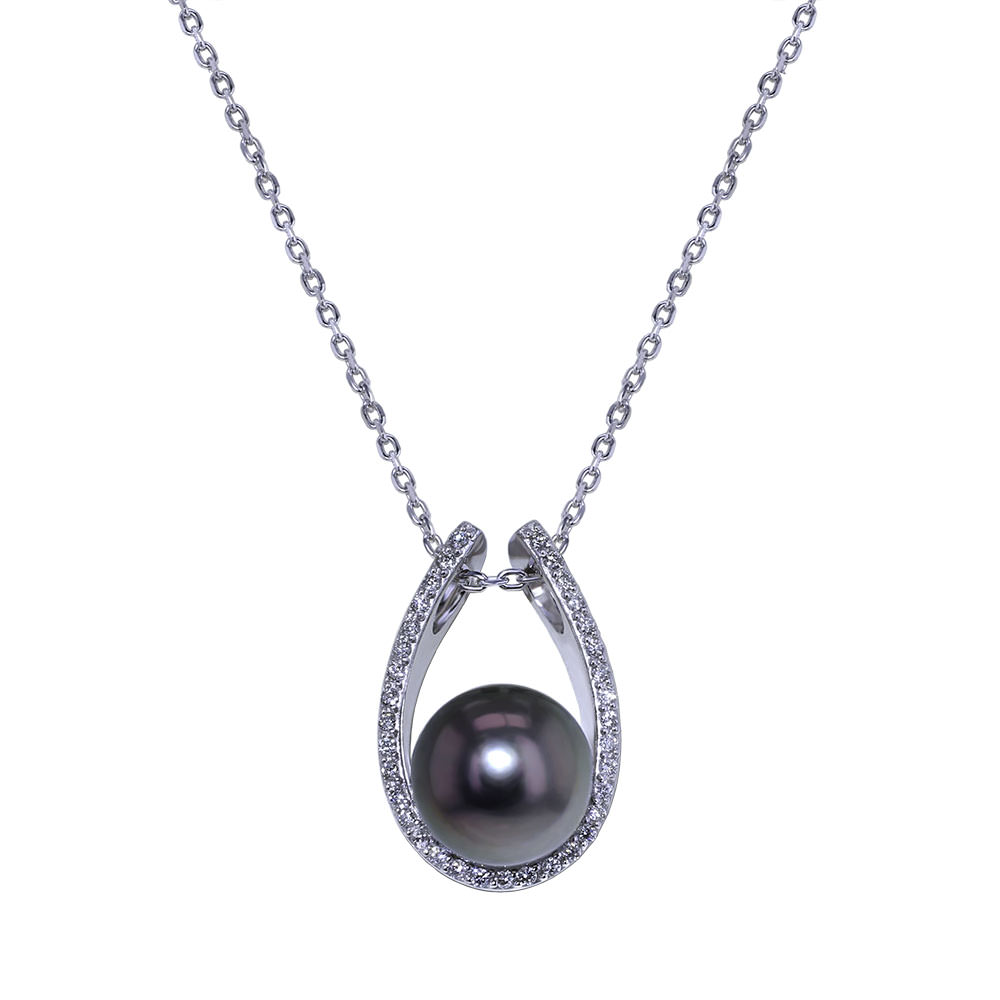 pearl dia jacquie necklace mother pave bezel with diamond products aiche of cap yg freeform