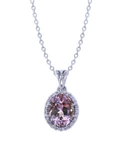 Oval Morganite Diamond Necklace