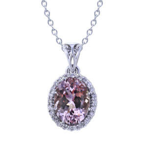 Oval Morganite Diamond Necklace-close up