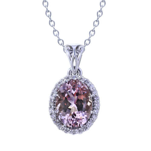 Oval Morganite Diamond Necklace-close up