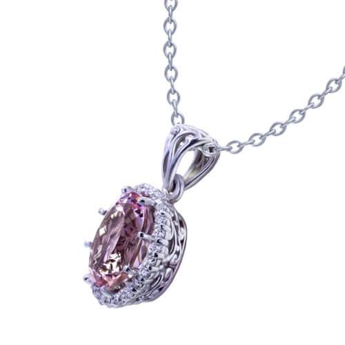 Oval Morganite Diamond Necklace angle