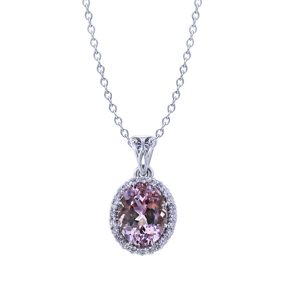 Oval Morganite Diamond Necklace