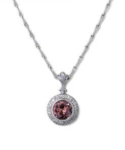 Brown Zircon Halo Necklace