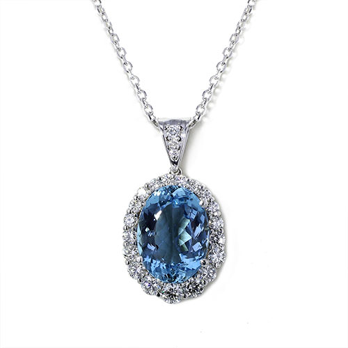 Oval Santa Maria Aquamarine Necklace Jewelry Designs