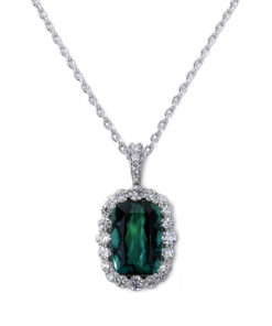 Green Tourmaline Halo Necklace