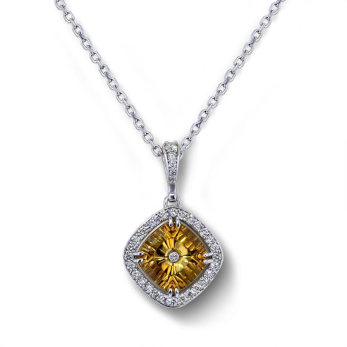 Citrine Halo Necklace