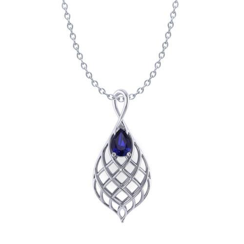 Tear Drop Woven Sapphire Necklace