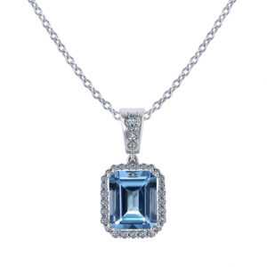 Halo Emerald Cut Blue Topaz Pendant