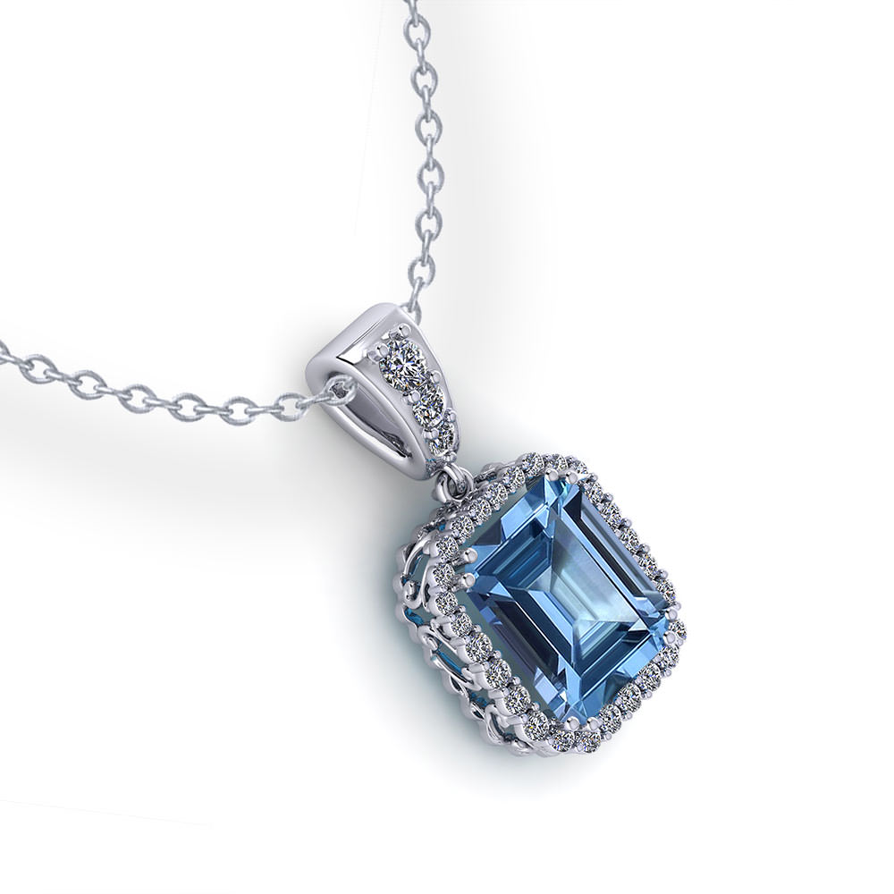 Halo Emerald Cut Blue Topaz Pendant