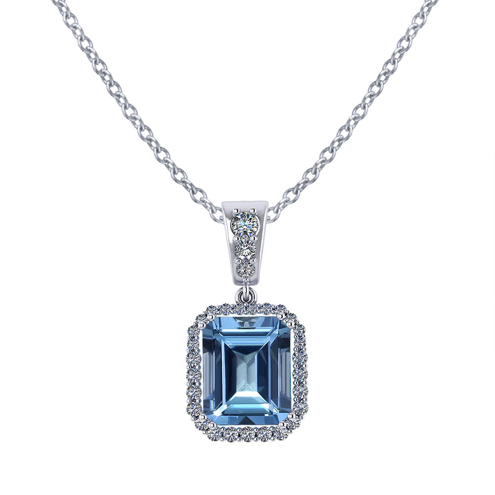 cut halo necklace jewellers emerald product minichiello pendant diamond