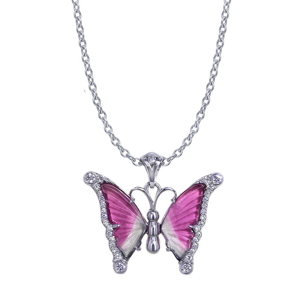 Watermelon Tourmaline Butterfly Necklace