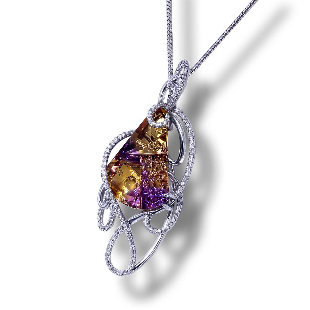 Whimsical Ametrine Diamond Necklace