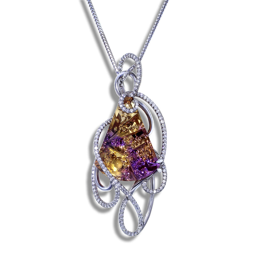 whimsical ametrine diamond necklace jewelry designs