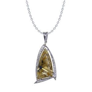 Rutilated Quartz Diamond Necklace
