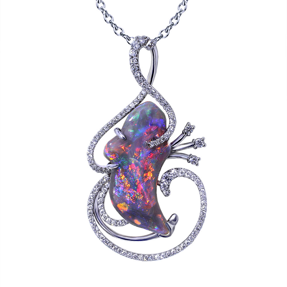 Whimsical Black Opal Necklace