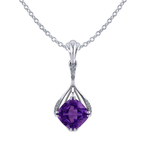 Drop Cushion Amethyst Pendant