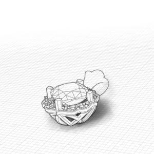 Chevron Halo Peridot Pendant